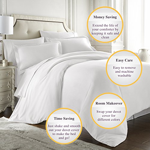 Hotel Luxury 3pc Duvet Cover Set-1500 Thread Count Egyptian Quality Ultra Silky Soft Top Quality Premium Bedding Collection -Queen Size White