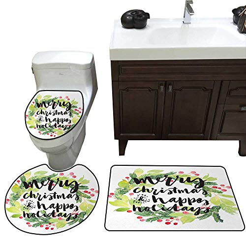 (John Taylor Christmas Bathroom Rug Set Year and Happy Holiday Rustic Design Wreath with Berries and Evergreen Image bathmat Toilet mat Set White Green)