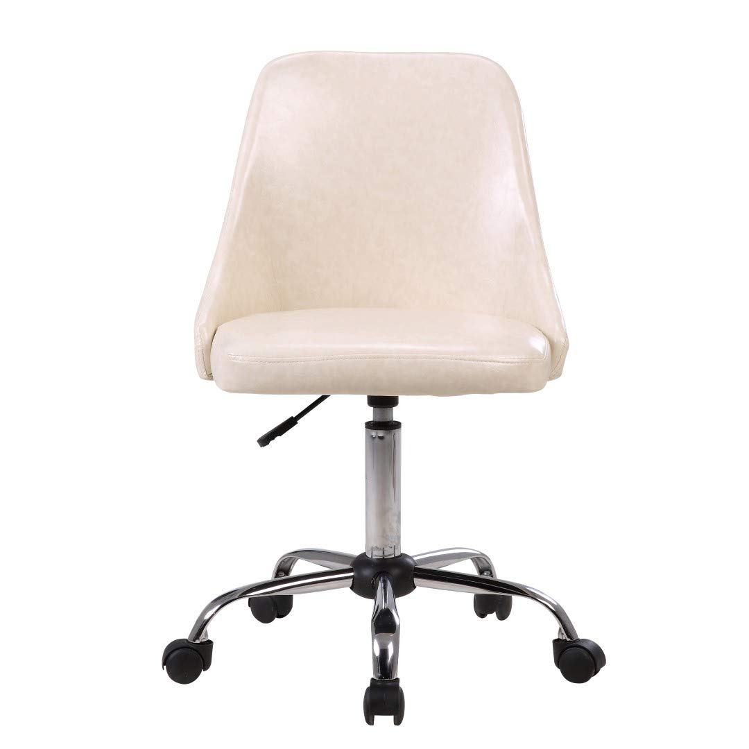Porthos Home EFC022A WHT Office Chair with PU Leather Upholstery,Adjustable Height, One Size, White