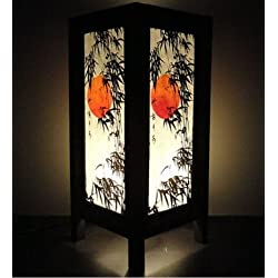 Thai Vintage Handmade Oriental Handcraft Japanese Sunset Bamboo Tree Art Bedside Table Light or Floor Wood Lamp Home Bedroom Decor Modern (Copter Shop)