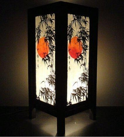 Thai Vintage Handmade Oriental Handcraft Japanese Sunset Bamboo Tree Art Bedside Table Light or Floor Wood Lamp Home Bedroom Decor Modern (Copter Shop)