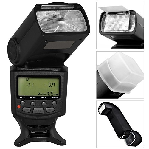 Best Value Professional E-TTL Auto-Focus Dedicated Flash for Canon 5D Mark III, 5D Mark II, 6D, 70D, SL1, 60D, 7D, T6s, T6i, T5i, T5, T4i, T3i, T3, T2i, T1i, Xsi, XS, SX50 HS, G1 X, G1 X Mark II, G12, G15, G16 & EOS M Digital Cameras Also Includes Hard Flash Diffuser, Flash Stand, Protective Flash Pouch, Professional 180° Quick Flip Rotating Flash Bracket, Off-Camera AF TTL Shoe Cord & Microfiber Cleaning Cloth