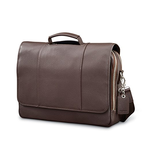 Samsonite Mens Leather Classic Flap Briefcase Dark Brown