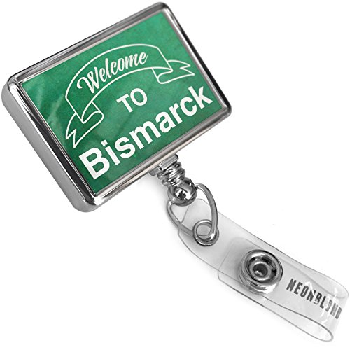 Reviews/Comments Retractable Badge Reel Green Sign Welcome Bismarck with Bulldog Belt Clip Holder Neonblond