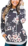 Angashion Women Hoodies-Tops- Floral Printed Long Sleeve Pocket Drawstring Sweatshirt with Pocket Dark Grey