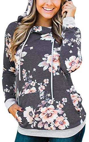 Angashion Women Hoodies-Tops- Floral Printed Long Sleeve Pocket Drawstring Sweatshirt with Pocket Dark Grey