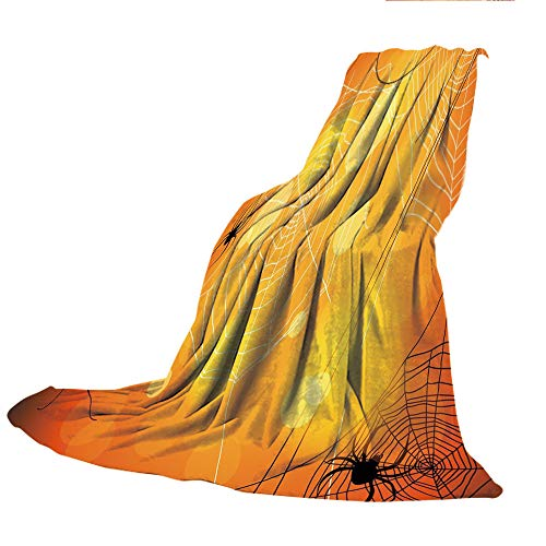 SCOCICI Customized Comfortable Blanket Sofa Bed or Bed 3D Printing,Halloween,Spiders Arachnid Insects Cobweb Thread Trap on Abstract Bokeh Backdrop Decorative,Orange Yellow White,47.25