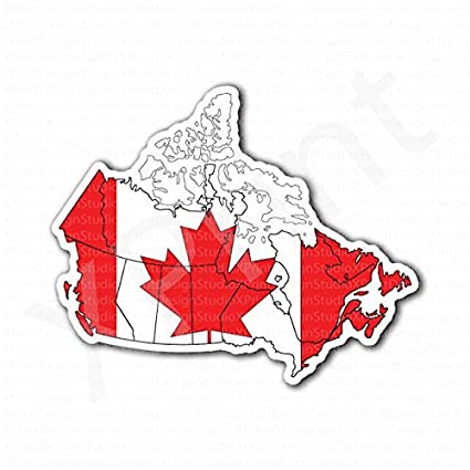 Canada Map Flag.Amazon Com Canada Map Canadian Flag Sticker Everything Else