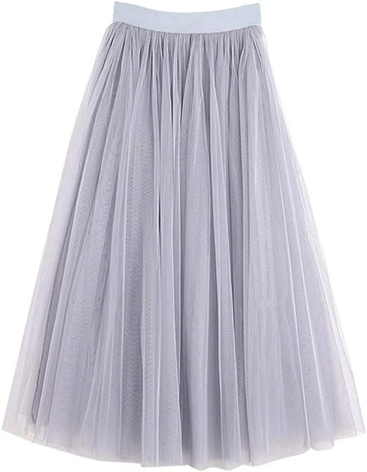 LLAni Falda de tul con forro de seda de tres capas, color liso ...
