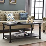 O&K Furniture Vintage Industrial Coffee Table with Lower Shelf, Wood and Metal Casual Occasional Table-Rectangular, Black-Espresso