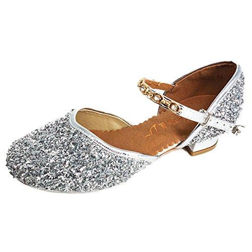 YING LAN Girls Glitter Sequins Pump Shoes Princess Dress Sandals Party Ballet Dance Shoes (Little Kid/Big Kid) Silver 36