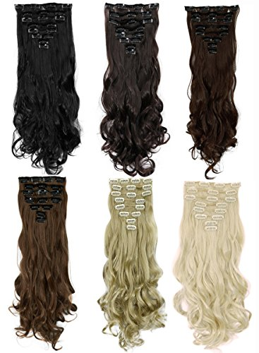 S-noilite1724-Long-Curly-Wavy-Clip-in-on-8-Pieces-Full-Head-Set-Hair-Extensions-8pcs-Hairpiece-Extension-Many-Colors-for-Girl-Lady-Women