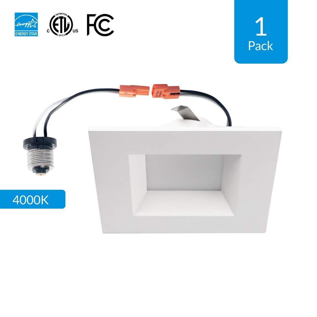 600 Lumens Soft White 1-Pack 4-inch Dimmable LED Square Downlight 9W Retrofit 4 Square Retrofit Design High CRI cETLus Energy Star /& FCC Approved Replace 65W CRI 90+ 3000K