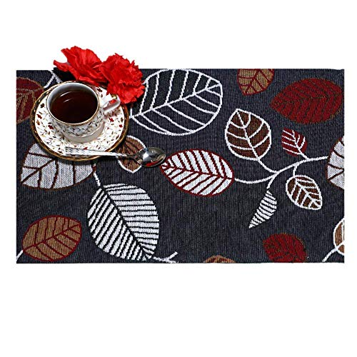 Madison Home Placemats 100% Cotton, Designer Jacquard Collection, Machine Washable, Everyday Use for Dinner Tables (13 X 18 Inch) (Dark Grey (Set of 6))