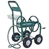 Water Hose Reel Cart 300FT Garden Outdoor Heavy Duty Yard Planting With Basket