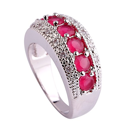 Narica Womens Brilliant Round Cut Ruby Spinel Stacking Cocktail Ring Band ()
