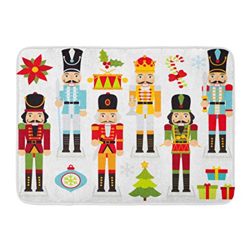 (Emvency Doormats Bath Rugs Outdoor/Indoor Door Mat Nut Christmas Nutcrackers Cracker Drummer Poinsettia Boy Crown Bathroom Decor Rug 16