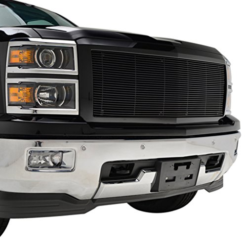 EAG 14-15 Chevy Silverado 1500 Replacement Billet Grille Black Aluminum Grill with ABS (Billet Grill Shell)