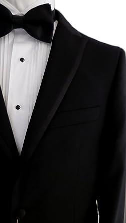 f2a12fe4e1fc11 Mantoni 2 Button Solid Black Spencer (Modern Lapel) Men's Tuxedo Suit with  No Vest