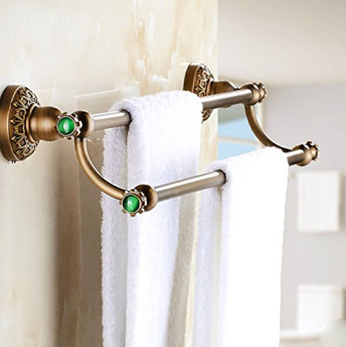 Rozin Wall Mounted Bathroom Double Towel Bars Antique Brass Towel Rack (Antique Brass Double Towel Bar)