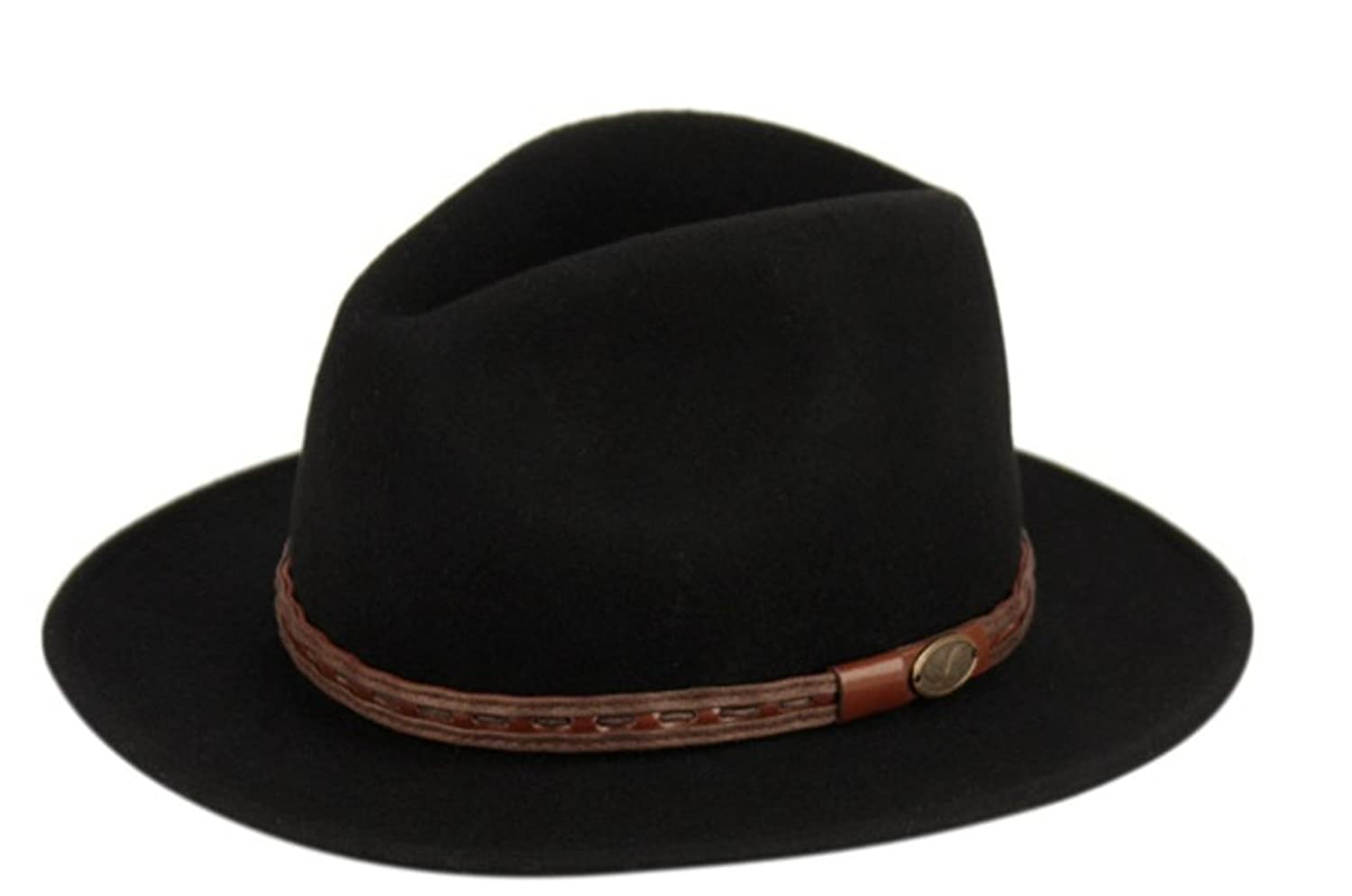 bff020cae Men's Crush-able Wool Felt Outback Wide Brim Classic Safari Leather Fedora  Hats