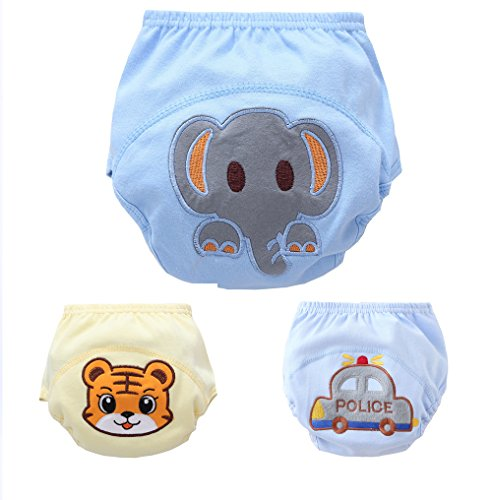 New 3PCS Baby Elephant Tiger Animal Car Pattern Pee Potty Cotton Training Pants Diaper Nappy (80/M, BOY)