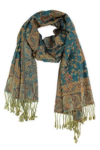 Paskmlna Reversible Paisley Pashmina Shawl Wrap Elegant Colors (#21Teal)