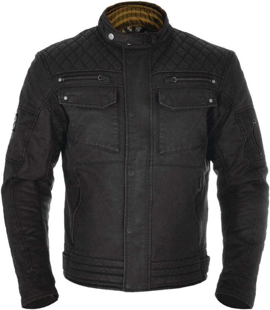 Oxford Hardy Waxed Cotton Motorcycle Motorbike Jacket Black