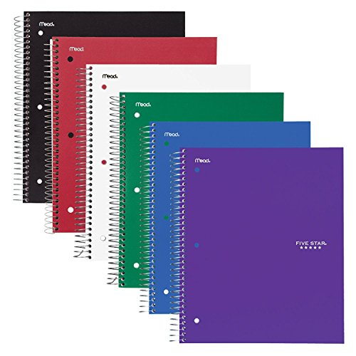 Acco Five Star Spiral Notebooks, 3 Subject, College Ruled...