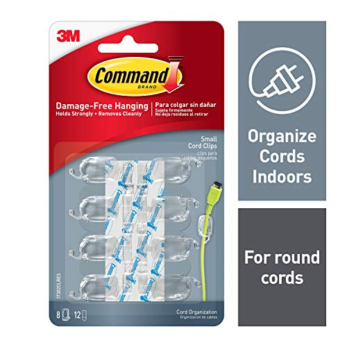 Command Cord Clips, Clear, 8 clips, 12 strips, Small (17302CLRES)