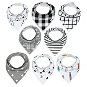 Baby Bandana Drool Bibs with Snaps, 8-Pack Organic Absorbent Drooling & Teething Bib Set by Matimati (Monochrome)