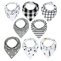Baby Bandana Drool Bibs with Snaps, 8-Pack Organic Absorbent Drooling & Teeth...