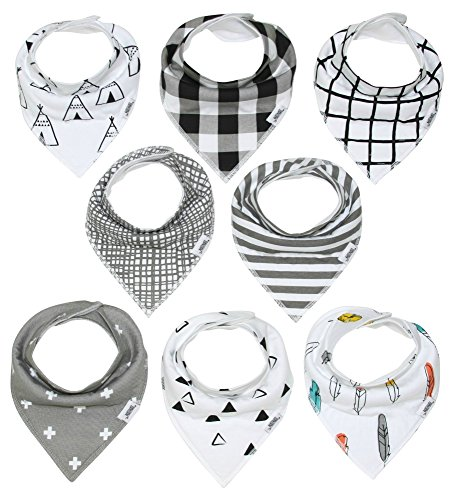 Baby Bandana Drool Bibs with Snaps, 8-Pack Organic Absorbent Drooling & Teething Bib Set by Matimati (Monochrome) (Bib Baby Drool)
