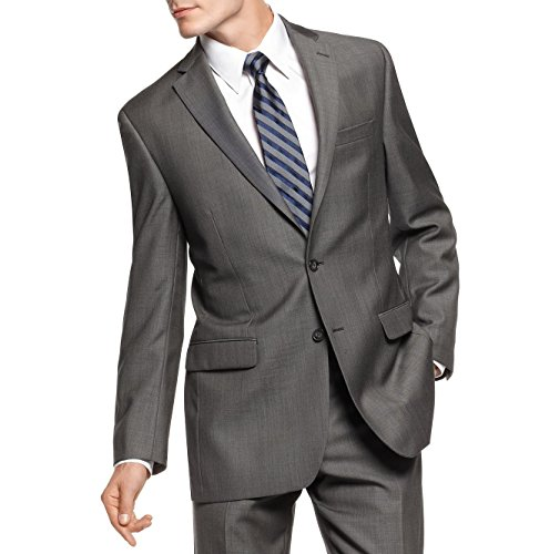 Calvin Klein Slim Fit Charcoal Pindot Two Button Wool New Mens Suit Set (48R 38W x 30L) by Calvin ` Klein