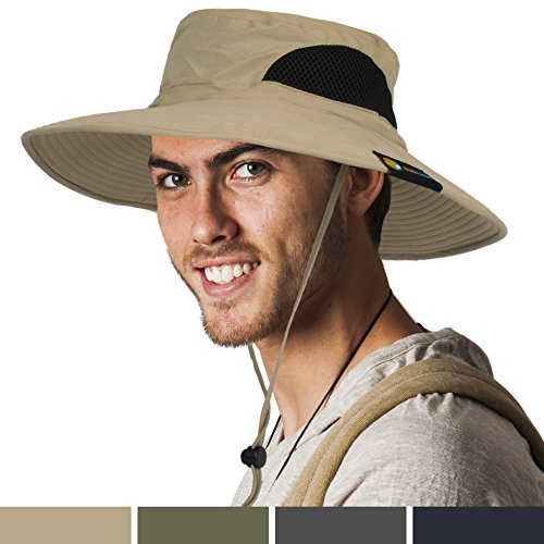 Cool Sun Hat (Premium Outdoor Sun Boonie Hat With Wide Brim, Adjustable Chin Strap for Fishing, Hiking, Safari, Travel by SUN CUBE| Summer Sun Protection, UPF 50+, Breathable| Packable Cap for Men, Women (Tan))