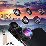Phone Camera Lens Kit, Hizek Universal 5 in 1 Clip-on iPhone lens 198 Degree Fisheye+0.63 Wide Angle Lens+15X Macro Lens+2X Telephoto Lens+CPL Lens for iPhone 7/7 Plus /6s/6/5, Samsung S7/S7 Edge