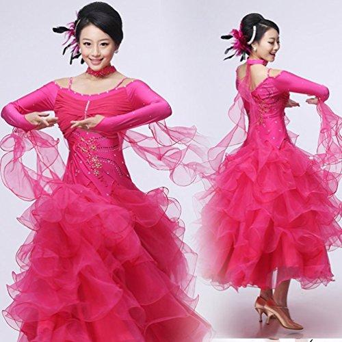 Competizione l Costume Abiti D Tracolla Ballo Per Prestazione Manica Nazionali Da M Wqwlf Valzer Lunga Moderno Donne Pwna7xxW