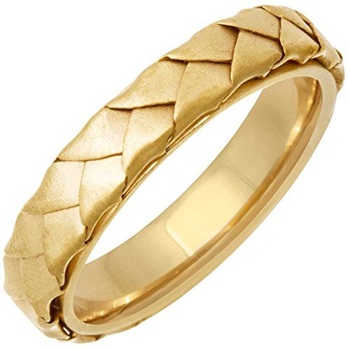 18K Yellow Gold Braided Basket Weave Men's Comfort Fit Wedding Band (5mm) Size-14.5c1