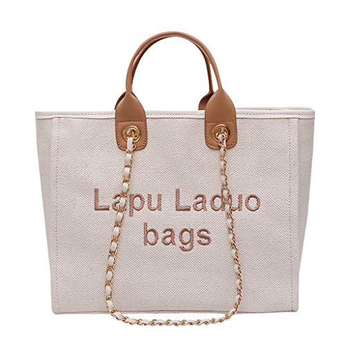 Shoulder Bags for Women,SIN+MON Women's Linen Top-Handle Handbags Large Chain Tote Bag Casual Letter Print Shopping Bag