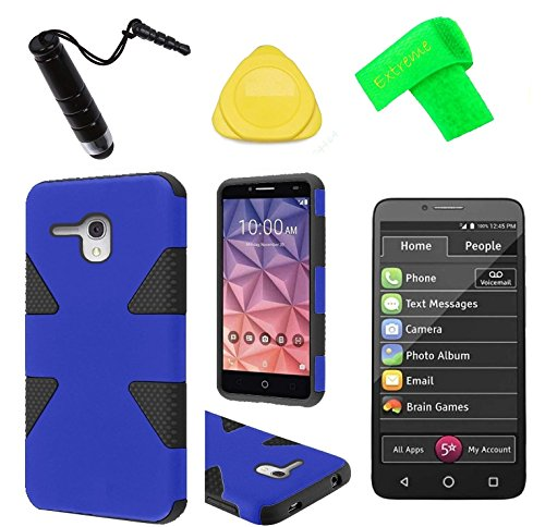 Dynamic Hybrid Cover Phone Case + Screen Protector + Extreme Band + Stylus Pen + Pry Tool For Alcatel Jitterbug Smart A622GL (Blue Black)