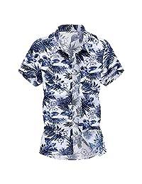 Turn Down Collar Shirts for Men,Fashion Printed T-Shirt Slim Loose Hawaii Short Sleeve Tops