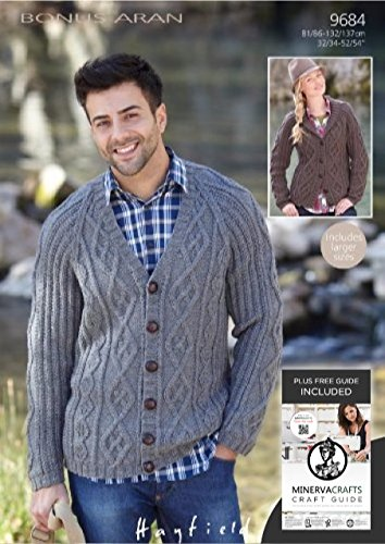 Sirdar Hayfield Bonus Aran Men Womens Cardigan Knitting Pattern