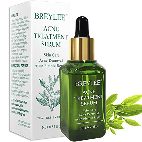 Acne Treatment Serum, Breylee Tea Tree Clear Skin Serum for Clearing Severe Acne, Breakout, Remover Pimple and Repair Skin (15ml,0.53oz) -