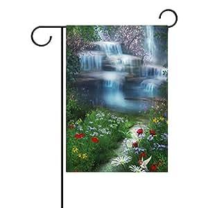 Vipsk gótico cuento de hadas mágico bosque verde largo poliéster bandera de jardín Pancarta 30,48 x 45,72 x 101,6 cm para boda, aniversario, hogar, decoración de jardín al aire libre