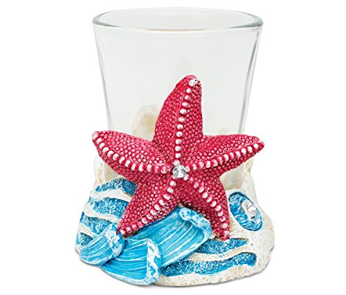 Puzzled Pink Starfish Resin Stone Finish Shot Glass Holder w/Clear Shot Glass Nautical Theme Quality Glassware for Bars/Parties Liquor Drinking Glass Accessory Modern Art Unique Gift & Souvenir