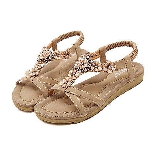 Khaki Minetom Schuhe Damenmode Perlen Blume Und Sandalen Strap T Sommer Decration A67qUvAw