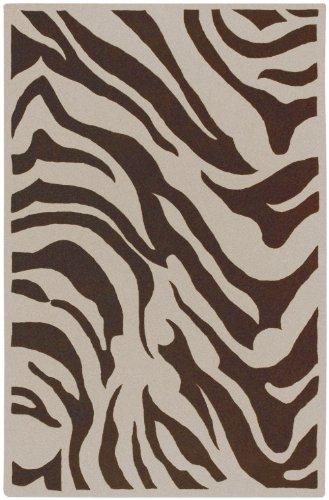 Goa Chocolate (Surya Animal Inspirations Rectangle Area Rug 8'x11' Ivory, Dark Chocolate Goa Collection)