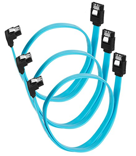 Zaharov SATA III Cable 3-Pack SATA 6Gbps 90 Degree Cable Plug with Lock Latch for with Serial ATA Hard Drives HDD, SSD, etc. Blue - 18