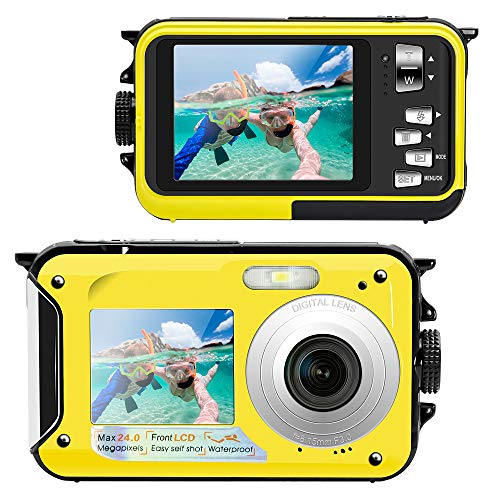 Veroyi Underwater Camera Full HD 1080P Waterproof Digital Camera 24.0MP Video Recorder Selfie Dual Screen DV Recording Waterproof Camera (SD Card Not Included)