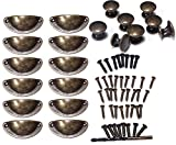 Ginsco 20pcs Vintage Traditional Bronze Kitchen Cupboard Door Cabinet Drawer Shell Pull Handle Round Knob Set with 4mm Drill Bit